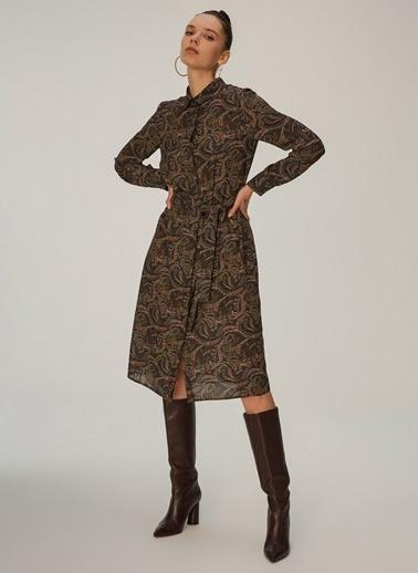 NGSTYLE Kadın Şal Desenli Gömlek Elbise NGKAW20EL0046 Siyah